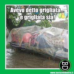 Quando papà si mette in testa una cosa... #bastardidentro #grigliata #pioggia www.bastardidentro.it