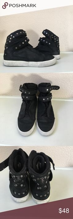 Supra Society TK studded black waxed high top Very fun to wear!!! Runs a bit longer  than normal Supra size 8. Supra Shoes Sneakers