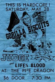 Gorilla Biscuits, Judge, Life's Blood punk hardcore flyer