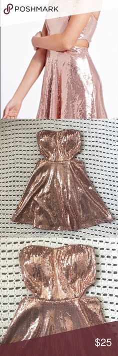 F21 Rose Gold Sequin Dress ALL F21 $5 This weekend only!  some sequins are missing here and there has cute side cut outs and a slip under Forever 21 Dresses Strapless