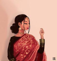 Cartoon Girl Images, Girl Cartoon, Girly Drawings, Cartoon Drawings, Cute Girl Sketch, Bengali Art, Modern Indian Art, Indian Illustration, Ariana Grande Drawings