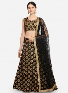Black Jacquard Lehenga Choli Black Lehenga, Banarasi Lehenga, Indian Lehenga, Lehenga Choli Online, Black Weave, How To Dye Fabric, Black Fabric, Ready To Wear, Two Piece Skirt Set