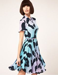 House of Holland Polo Tee Dress in Pastel Leopard Print Silk