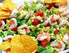 Cilantro-Lime Shrimp, Corn and Black Bean Taco Salad...