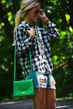 Plaid Shirt, Ripped Jean Shorts, Green Bag