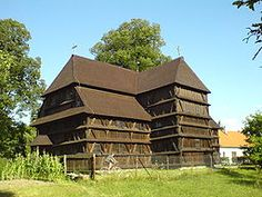The Protestant wooden church in Hronsek (Slovakia) was built in Geographic Coordinates, Carpathian Mountains, Church Architecture, Kirchen, Eastern Europe, World Heritage Sites, Czech Republic, In The Heights, Cabin