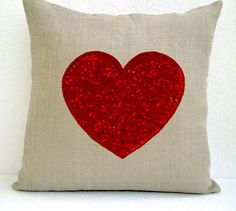 Burlap Pillow Cover with Heart Detail, $23.80! | andRuby