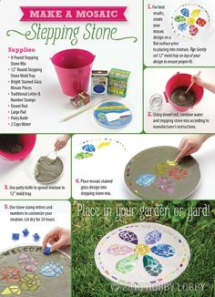 Make a beautiful mosaic stepping stone for personalized DIY garden art.