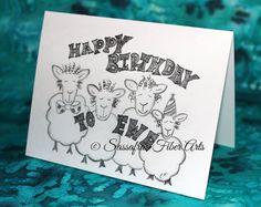 Happy Birthday to Ewe - Hand Drawn Birthday Card - Adorable Sheep