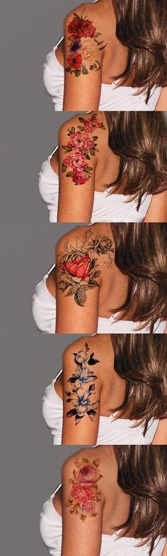 Flower Tattoo Ideas - Cute Realistic Pretty Beauftiul Floral Arm Tat - at MyBodiArt.com