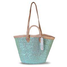 Mit Pailletten bestickte Korbtasche, geflochten aus Osier Palmblatt. Straw Bag, Bags, Design, Sequins, Braid, Handbags, Bag, Totes