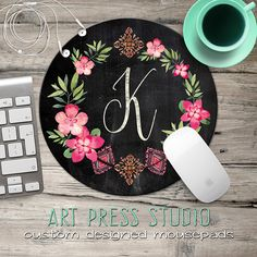 Chalkboard Initial Mouse pad Chalkboard Wreath Mouse Pad Chalk Monogram and Hot Pink Flowers Mousepad Boho Chic Mouse Pad gift under 20 mouse pad custom mouse pad mousepad personalized monogrammed wreath monogram mouse pad monogram mousepad chalkboard monogram chalk initial wreath mousepad hot pink flowers 11.99 USD #goriani