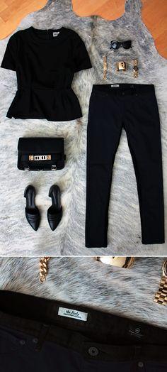 ASOS peplum top | Elizabeth and James sunglasses | ASOS bracelet | Karla Deras x Roman Luxe cuff   Michael Kors watch | Proenza Schouler bag | AG Jeans leggings | Jenni Kayne flats