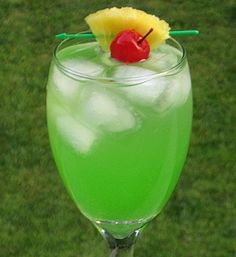 Angry Pirate (1 oz. Peach Schnapps 1 oz. Malibu Coconut Rum 1 oz. Dekuyper Island Punch Pucker 1 oz. Melon Liqueur 2 oz. Pineapple Juice 2 oz. Sprite Pineapple chunk and Cherry for garnish)