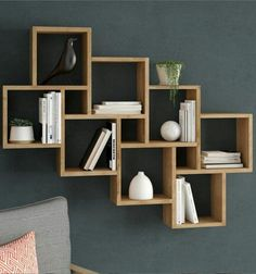 """With the popularity of bookshelves in the design, bookshelves have gradually become a display design for putting decorations and decorating the space mood. More and more families choose to install """"bookshelves"""" in the decoration process. Floating Bookshelves, Cube Shelves, Wall Bookshelves, Shelves In Bedroom, Bookshelf Design, Floating Shelves Diy, Wooden Shelves, Modern Bookcase, Wood Shelf"""