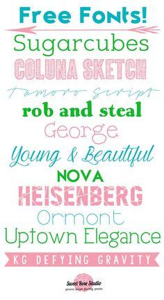 Sweet Rose Studio - Fonts - Ideas of Fonts - Free FontsAgain! Cute Fonts, Fancy Fonts, Pretty Fonts, Typography Fonts, Typography Design, Web Design, Graphic Design, Type Design, Computer Font
