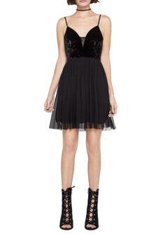 Bcbgeneration Women's Velvet Tulle Dress - Black - 12