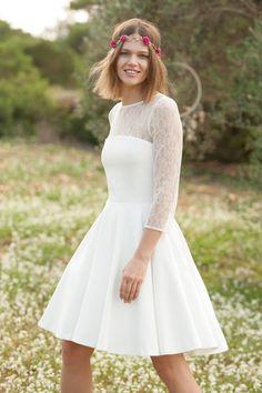 f2cc3d799efde Robe de mariée courte blanc cassé Mademoiselle R pas cher prix Robe La  Redoute 149.99 €