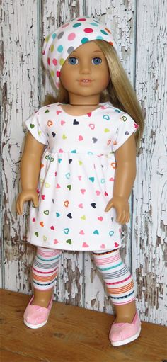 Trendy Heart Dress, Slouch Hat, and Leggings by SillyMonkeyInc on Etsy. Made with the Baby Doll Dress pattern, found at http://www.pixiefaire.com/collections/123-mulberry-st/products/baby-doll-dress-18-doll-clothes. #pixiefaire #babydolldress