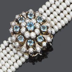 A cultured pearl, aquamarine and diamond choker