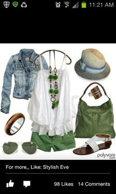 green shorts - great summer outfit - minus the hat - i'd look SILLY! Look Fashion, Fashion Outfits, Womens Fashion, Fashion Ideas, Classy Fashion, Ladies Fashion, Unique Fashion, Retro Fashion, Fall Fashion