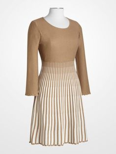 Calvin Klein Tan & Ivory Knit Dress
