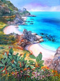 This reminds me of Moana Small Canvas Paintings, Seascape Paintings, Canvas Art, Landscape Wallpaper, Landscape Art, Landscape Paintings, Beginner Painting, Beach Art, Beautiful Landscapes