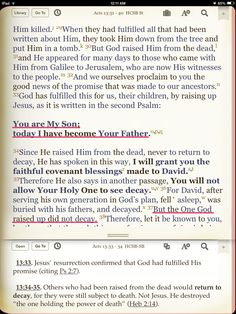 Jesus is the SON OF GOD by both birth (Luke Romans and declaration (Rom. Acts 13, Acts Of The Apostles, Day Of Pentecost, Bible Commentary, Prayer Journals, The Great I Am, Luke 1, Bible Study Tools, Bible Teachings