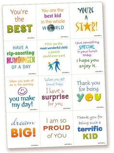 Lunchbox 1 - Kids' Lunchbox - Surprise Notes – printable lunch box notes for kids, romance notes, fun notes, special occasion notes – Make someone's day: