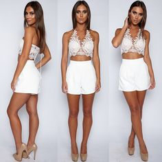15.99 JeVenis Women's Halter Neck Tank Gold Crop Top Sleeveless Lace Vest Embroidered Bustier Top