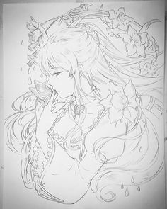 This is so pretty Anime Drawings Sketches, Anime Sketch, Manga Drawing, Manga Art, Cool Drawings, Colouring Pages, Coloring Books, Character Art, Character Design