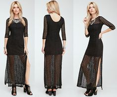 The Longline Crochet Overlay Maxi Dress features high slits on the sides and retro type boho styling.