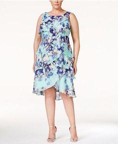 SL Fashions Plus Size Tiered Floral-Print Dress - Dresses - Women - Macy's