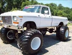 Check this out! I genuinely fancy this color scheme for this lifted ford truck Big Ford Trucks, 1979 Ford Truck, Classic Ford Trucks, Old Pickup Trucks, Lifted Ford Trucks, 4x4 Trucks, Diesel Trucks, Custom Trucks, Cool Trucks