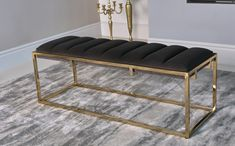 price for Bench, Beautifully upholstered in rich dark grey velvet. Stylish gold metal base frames the upholstered bench seat.Bench x x Gold Bench, White Bench, Upholstered Bench Seat, Bench Cushions, Bench Furniture, Living Furniture, Breakfast Bar Table, White Ottoman, Coaster Fine Furniture