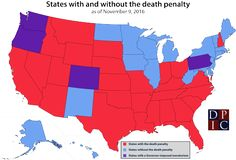 US states with and without the death penalty.
