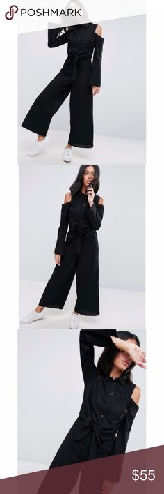 ASOS Cold Shoulder Jumpsuit ASOS Cold Shoulder Jumpsuit.  Tie Front Detail around waist, Cold Shoulder, button up chest, wide leg. Size small. New with tags attached. ASOS Pants Jumpsuits & Rompers