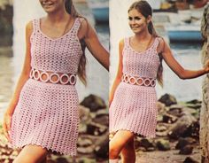 Crochet Pink Party dress Vintage pattern PDF by GrandmaHadItGoinOn, $2.38