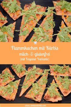 FLAMMKUCHEN MIT KÜRBIS - MILCH- & GLUTENFREI Lecker, #original #ElsässerFlammkuches? Der #klassische #Belag besteht aus Zwiebeln, Speck und Schmand. Meine #Variante ist #milchfrei und #glutenfrei und das #Rezept ist ganz #einfach. Mein Boden besteht aus glutenfreiem #Teig, der Schmand ist #vegan und aus dem Speck wurde #SerranoSchinken. Als extra Schmankerl kommen noch #Kürbis und #Rucola dazu. Snacks, Asparagus, Keto, Vegetables, Food, Gluten Free Recipes, Vegane Rezepte, Pumpkin Jam, Pumpkin Pasta