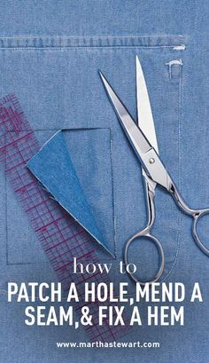 How to Patch a Hole, Mend a Seam & Fix a Hem Martha Stewart Living - With only a few sewing supplies and the most basic stitches, you can repair holes, seams, and hems on your garments and extend the life of your clothes. Sewing Basics, Sewing For Beginners, Sewing Hacks, Sewing Tutorials, Sewing Crafts, Sewing Patterns, Sewing Tips, Basic Sewing, Sewing Ideas