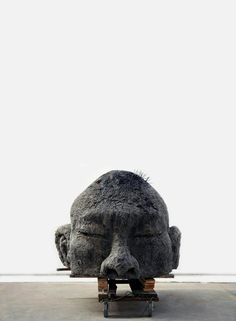 Self-Portrait Sculpture Made from Shanghai Temple Ashes. By New York-based artist Zhang Huan.