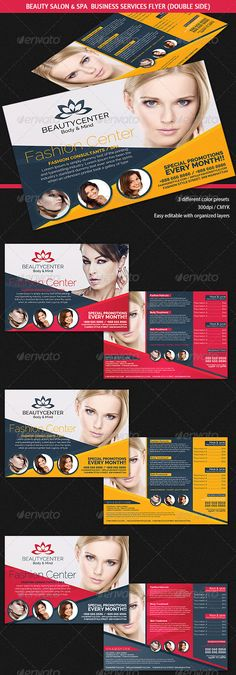 Beauty Center Spa Business Services Flyer #GraphicRiver Description A professional and modern business flyer perfect for showcase any beauty center, hair salon / stylist or fashion consultancy activity or services provided. Content – 3 Different color presets included – 300dpi / CMYK included – Layered and easy editable Fonts Raleway Created: 14October13 GraphicsFilesIncluded: PhotoshopPSD Layered: No MinimumAdobeCSVersion: CS2 PrintDimensions: 8.25x5.75