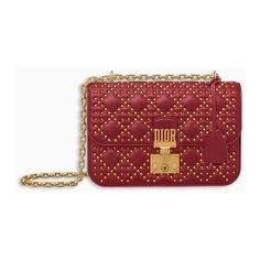 DIORADDICT FLAP BAG IN RED STUDDED CANNAGE LAMBSKIN ❤ liked on Polyvore featuring bags, handbags, red bag, red purse, lambskin purse, lambskin leather purse and red studded purse