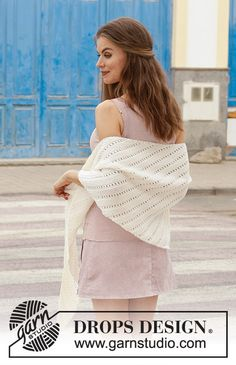 Innocent - Knitted shawl with garter stitch and lace pattern. The piece is worked sideways in DROPS Merino Extra Fine. Free knitting pattern DROPS 187-20