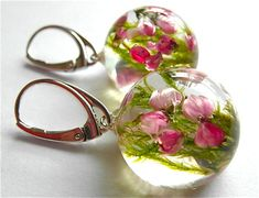 Beautiful heather and green moss Earrings heather by GrolJewellery