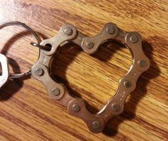 ($$) UPCYCLED Bike Chain HEART Keychain - Be My Valentine. $22.00, via Etsy.