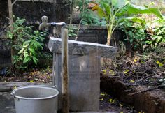 This is where our clothes are washed, in our backyard in Vittal.