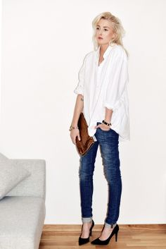 Classic.  White shirt and jeans.