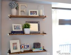Rustic Ikea Shelves | DIY Playbook - master bedroom's awkward wall