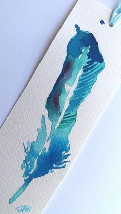 Original art bookmark feather painting watercolor by NewCreatioNZ